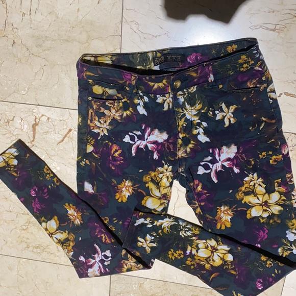 Z1975 Zara Fall Colors Floral Print Jeans Pants 6
